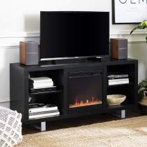 """Walker Edison Furniture Company Modern Wood and Metal Fireplace Stand for TV's up to 64"""" Flat Screen Living Room Storage Shelves Entertainment Center, Black"""