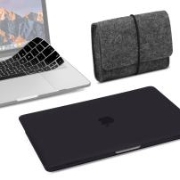 GMYLE MacBook Air 13 Inch Case A1466 A1369 Old Version 2010 2017, Storage Bag Pouch for Travel and Keyboard Cover 3 in 1 Set (Black)