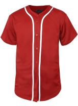 Hat and Beyond Mens Baseball Jersey Button Down T Shirts Hipster Plain Hip Hop 1UPA02 (Small, 01 Red/White)