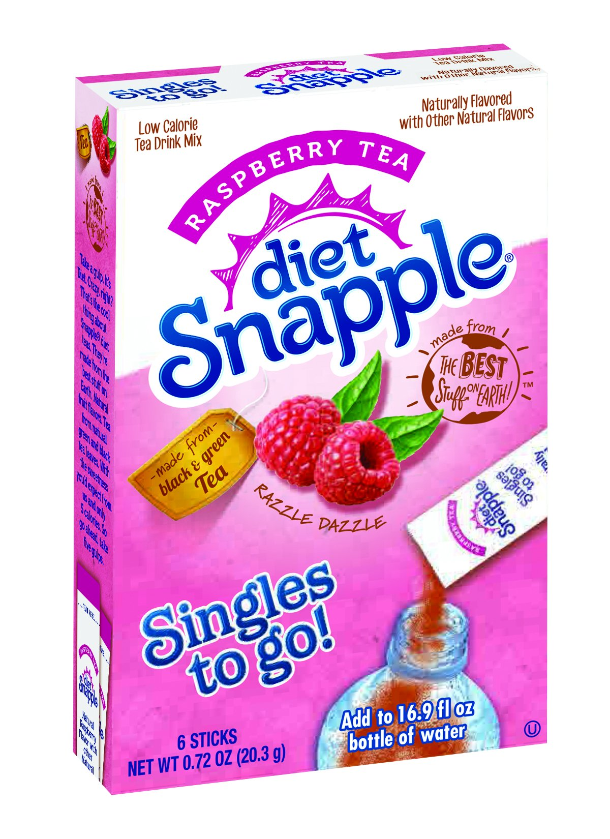 Diet Snapple Singles To Go Water Drink Mix – 6-Count Box (Pack of 12) Raspberry Tea – Flavored Powder Sticks for Water - ORIGINAL FLAVOR