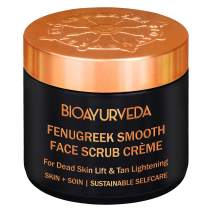 BIOAYURVEDA Fenugreek Smooth Face Scrub, Exfoliating Face Scrub with Walnut - for Acne, Pores, Marks, Dark Spots, Blackheads, Tan - Brightening, Lifting & Tightening, All Skin Types(4 Fl Oz)