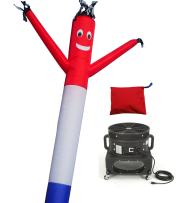 LookOurWay Air Dancers Inflatable Tube Man Complete Set with 1 HP Sky Dancer Blower, 20-Feet, Red/White/Blue