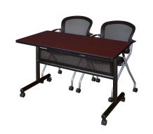 Regency Flip Top Mobile Training Table With Modesty and Mario Chair Set 48 x 24 inch Mahogany