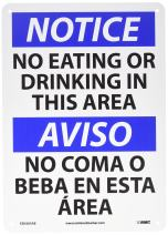 """NMC ESN383AB Bilingual OSHA Sign, Legend """"NOTICE - NO EATING OR DRINKING IN THIS AREA"""", 14"""" Length x 10"""" Height, 0.040 Aluminum, Black/Blue on White"""