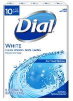 Dial Antibacterial Bar Soap, White, 4 Ounce, 10 Bars
