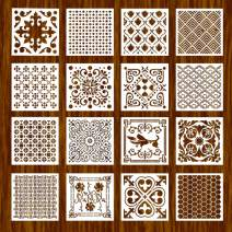 BAISDY 16pcs Tile Floor Wall Stencil for Painting (8X8 inch) - Reusable Stencils Art for Furniture Wood and Home Decor (Style 6)