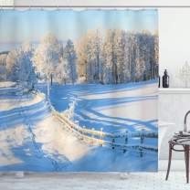 """Ambesonne Farmland Shower Curtain, Winter Snow Valley with Oak Borders Pines Frozen Pastoral High Cold Lands Art, Cloth Fabric Bathroom Decor Set with Hooks, 70"""" Long, White Blue"""