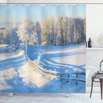 "Ambesonne Farmland Shower Curtain, Winter Snow Valley with Oak Borders Pines Frozen Pastoral High Cold Lands Art, Cloth Fabric Bathroom Decor Set with Hooks, 75"" Long, White Blue"