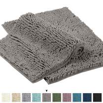 """Gray Rugs for Bathroom Slip-Resistant Shag Chenille Bath Rugs Mat Extra Soft and Absorbent Bath Rug for Shower Room Machine-Washable Fast Dry (Gray, 17"""" x 24"""" Plus 24 x 17)"""
