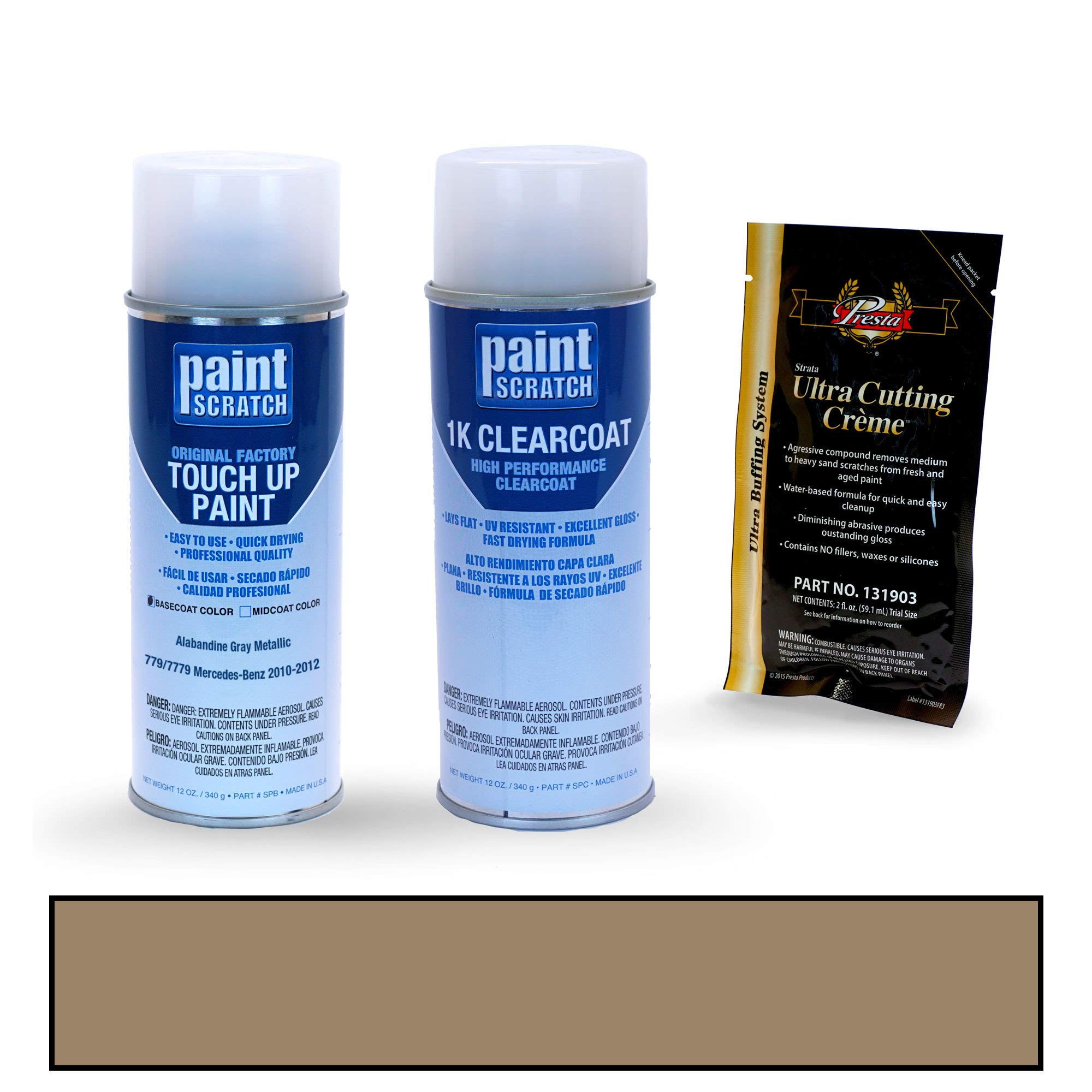 PAINTSCRATCH Touch Up Paint Spray Can Car Scratch Repair Kit - Compatible with Mercedes-Benz SL-Class Alabandine Gray Metallic (Color Code: 779/7779)