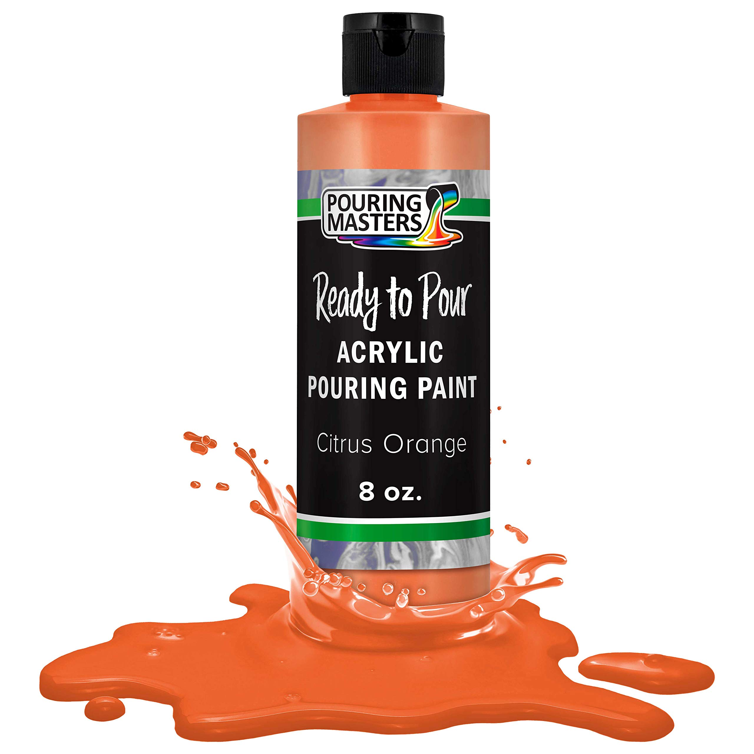 Pouring Masters Citrus Orange Acrylic Ready to Pour Pouring Paint – Premium 8-Ounce Pre-Mixed Water-Based - for Canvas, Wood, Paper, Crafts, Tile, Rocks and More