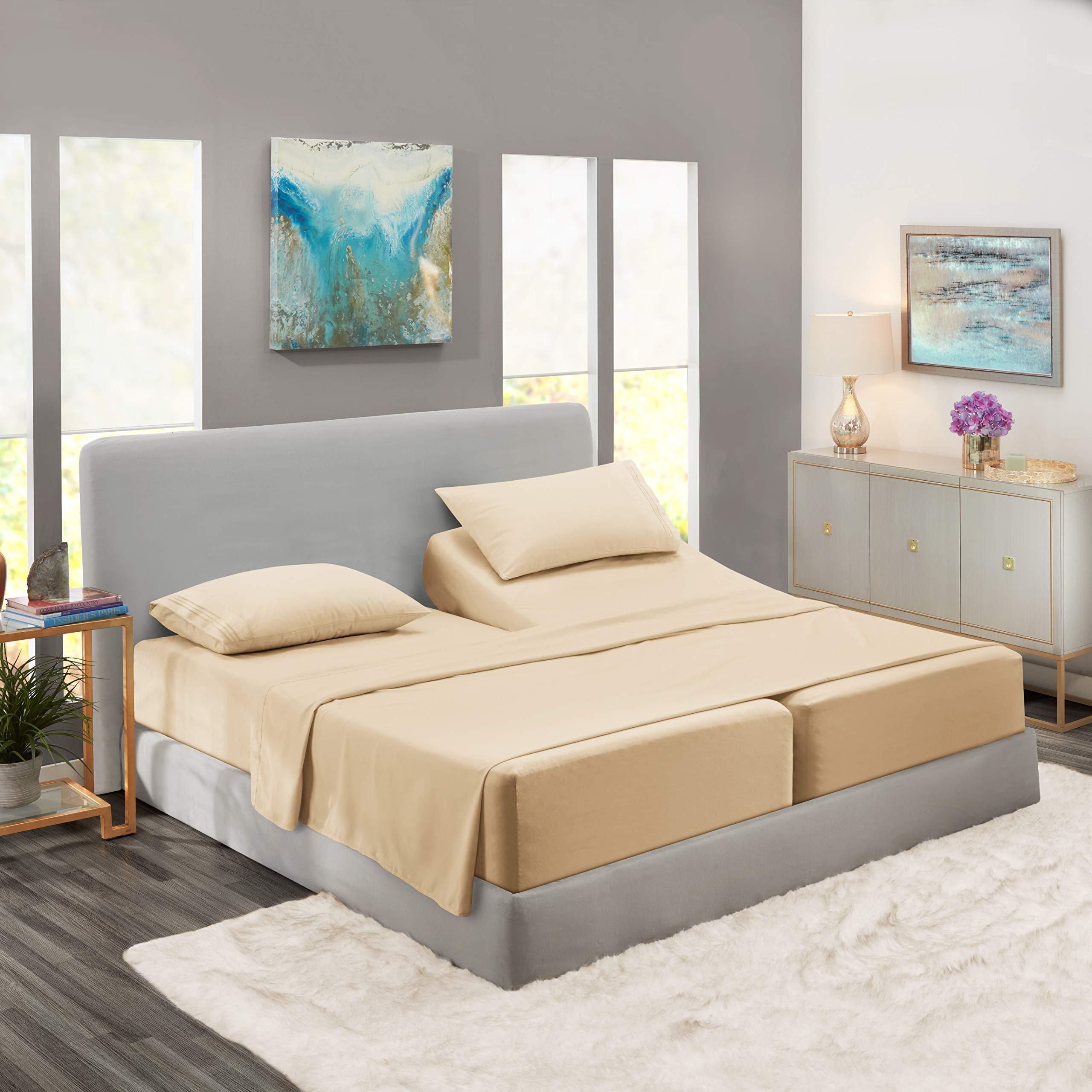 Nestl Bedding 5 Piece Sheet Set - 1800 Deep Pocket Bed Sheet Set - Hotel Luxury Double Brushed Microfiber Sheets - Deep Pocket Fitted Sheet, Flat Sheet, Pillow Cases, Split Cal King - Beige