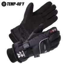 SKYDEER 3M Scotchgard -40 ℉ Waterproof & Windproof Genuine Deerskin Suede Leather Ski Gloves
