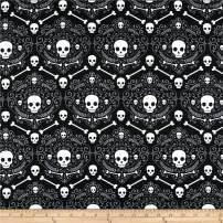 Santee Print Works Halloween Geo Skulls Fabric, Black Gray, Fabric By The Yard