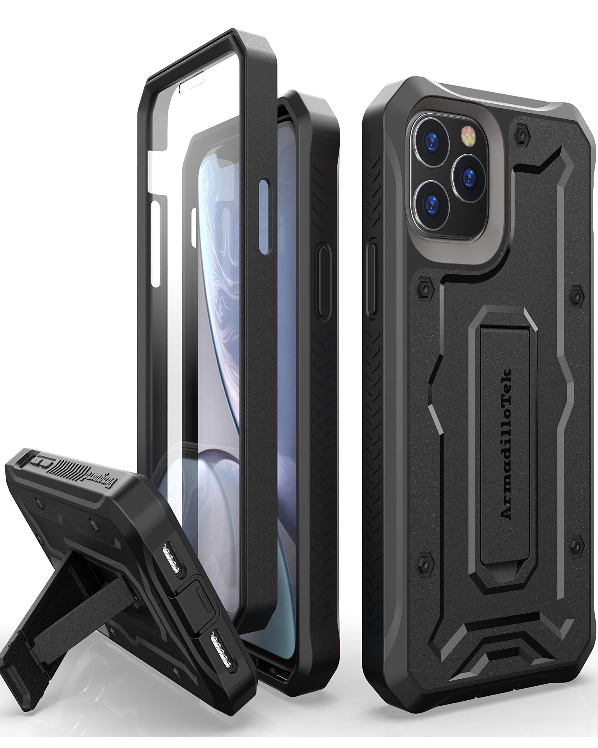 ArmadilloTek Vanguard Designed for iPhone 11 Pro Max Case (6.5 inches) Military Grade Full-Body Rugged with Kickstand and Built-in Screen Protector - Black