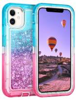 Coolden Case for iPhone 11 Cases Protective Glitter Case for Women Girls Cute Bling Sparkle Heavy Duty Hard Shell Shockproof TPU Case for 2019 Release 6.1 Inches iPhone 11 iPhone XI, Aqua Pink
