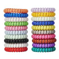 LuzGod 20 PCS 20 Color No Crease Spiral Hair Ties Spiral Coil Hair Elastics No Damage Hair Band Ponytail Holder