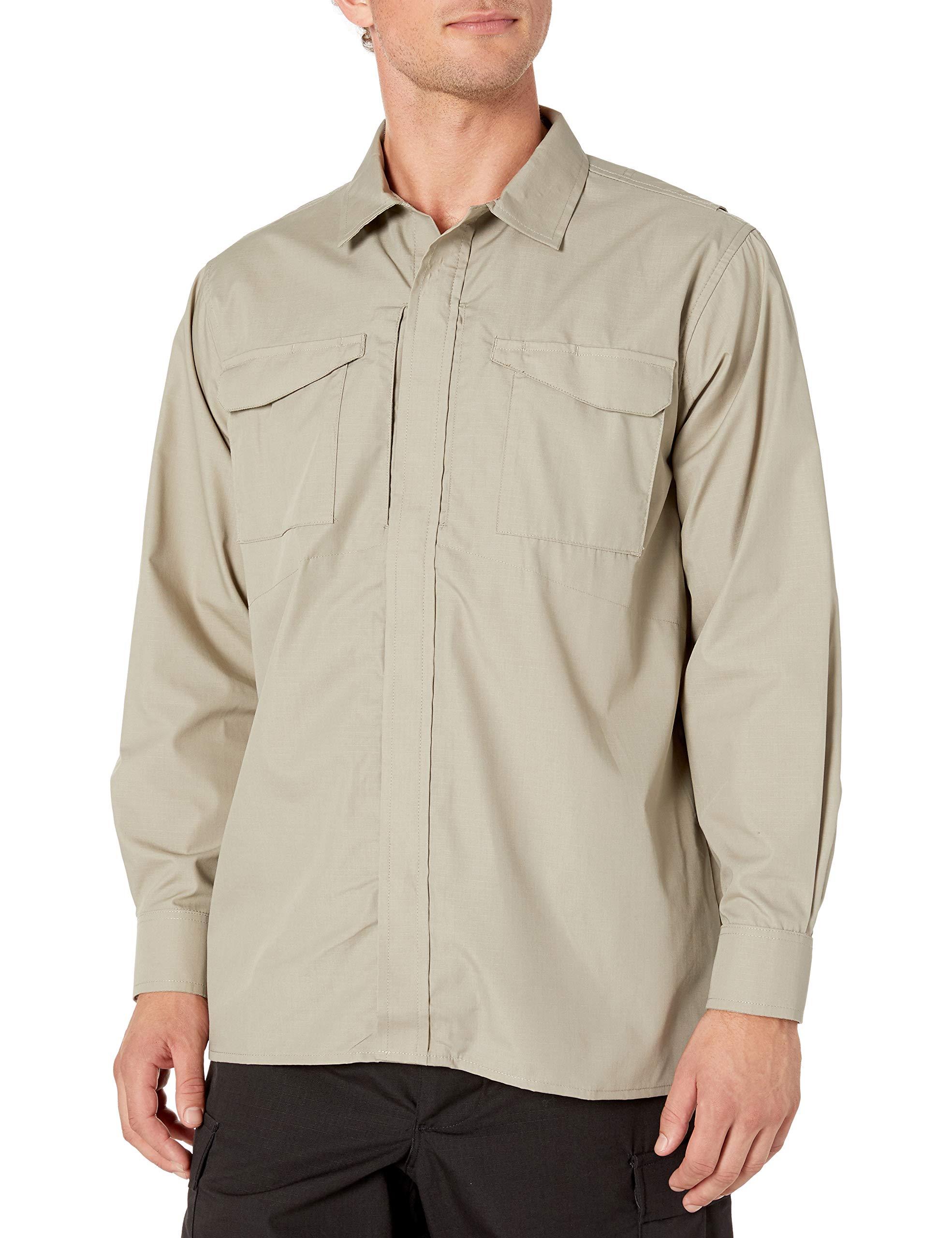 Tru-Spec 24-7 1051002 Men's Ultralight Long Sleeve Uniform Shirt, Polyester Cotton Rip-Stop, X-Small Regular, Black