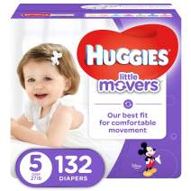 HUGGIES LITTLE MOVERS Active Baby Diapers, Size 5 (fits 27+ lb.), 132 Ct, ECONOMY PLUS (Packaging May Vary)