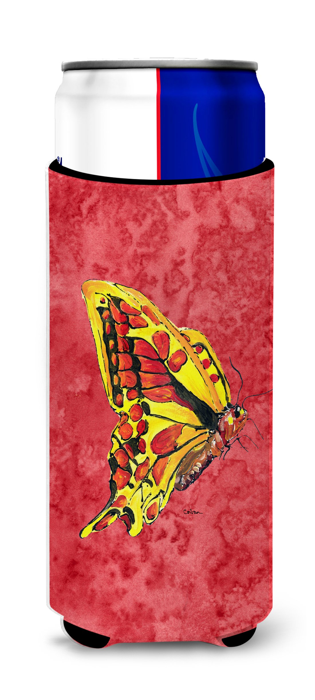 Caroline's Treasures 8862MUK Butterfly on Red Ultra Beverage Insulators for slim cans, Slim Can, multicolor