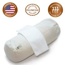 """ComfyComfy Round Buckwheat Pillow for Side Sleeper Neck Support, Medium Size (17"""" x 6""""), USA Grown Buckwheat Hulls, Durable Organic Cotton Twill, and Custom Percale Cotton Pillowcase"""