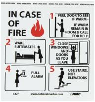 "NMC S37P Hotel Motel Fire Emergency Instructions Graphic See Sign, Legend ""IN CASE OF FIRE"", 7"" Length x 7"" Height, Pressure Sensitive Vinyl, Black/Red on White"