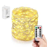 Homestarry Faiy Lights, 33Ft 132LEDs Battery Operated String Lights Waterproof 8 Modes Firefly Lights with Remote and 6AA Battery Powered Sliver Wire Indoor Lights for Holiday