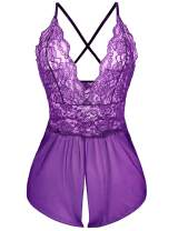 Avidlove Women Teddy Lingerie Nightwear - Sexy One Piece Lace Mesh Babydoll Chemise with Low Back Design