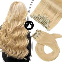 【New Arrivals】Moresoo Clip in Human Hair Extensions 18 Inch Real Human Hair Clip in Hair Extensions Color #24 Light Blonde Lace Weft Clip in Full Head Hair Extensions Clip ins 7PCS 100G