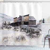 """Ambesonne Western Shower Curtain, Old Wooden Wagons from 20's in Ghost Town Antique Wyoming Wheels Artwork Print, Cloth Fabric Bathroom Decor Set with Hooks, 75"""" Long, Grey White"""