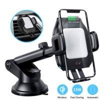 Wireless Car Charger Mount,CNSL Patent Auto Clamping 15W QI Fast Charging Metal Motor Phone Holder with Strong Suction,Air Vent Windshield Dashboard Stand,Compatible with iPhone 11/Xr/Xs,Samsung S9/S8