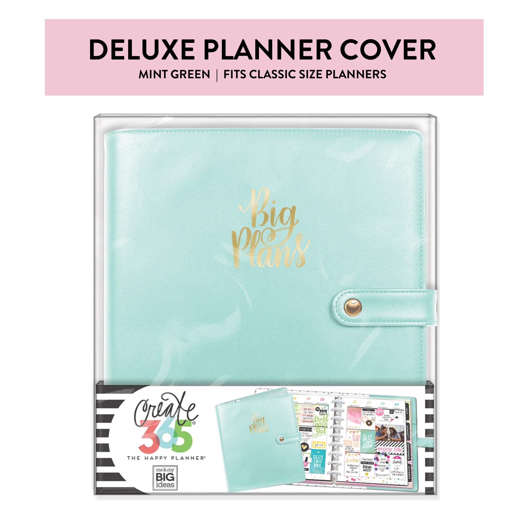 Me & My Big Ideas Classic Deluxe Cover, Mint - The Happy Planner Scrapbooking Supplies - Stylish & Functional - Extra Protection and Storage with Inner Pockets - Includes Pen Holder - Classic Size