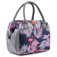 Amersun Insulated Lunch Bag for Women,Sturdy Spacious Wide Open Lunch Box Tote,Easy Cleaning Water-resistant Leakproof Lunch Cooler with Pockets for Adults Girls College Work Office Picnic(Flamingo)