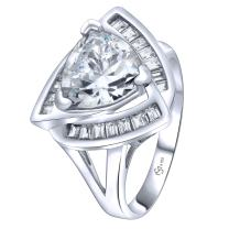 Women's Sterling Silver .925 Trillion Cut Cocktail Ring with 22 Sparkling White Cubic Zirconia (CZ) Stones Platinum Plated Jewelry
