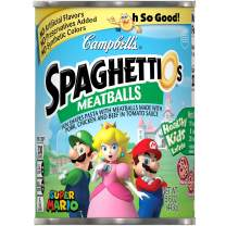Campbell's SpaghettiOs Canned Pasta, Super Mario Bros.Shaped Pasta with Meatballs, 15.6 oz.Can (Pack of 12) (Packaging May Vary)