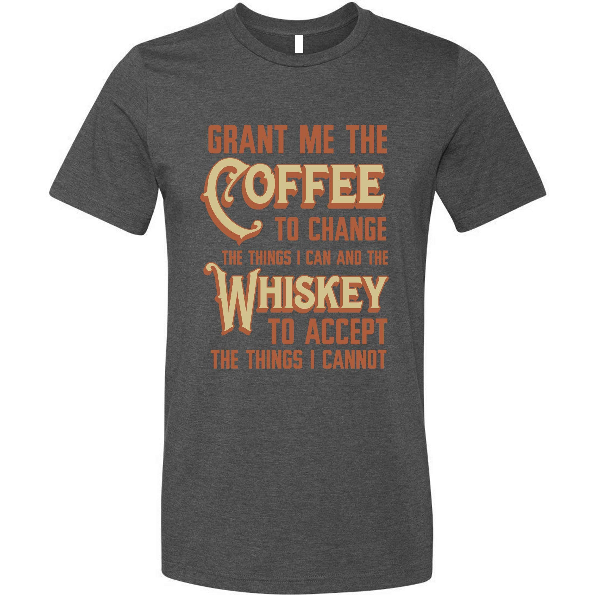 GunShowTees Men's Grant Me Coffee to Change Things I Can Whiskey to Accept…Shirt
