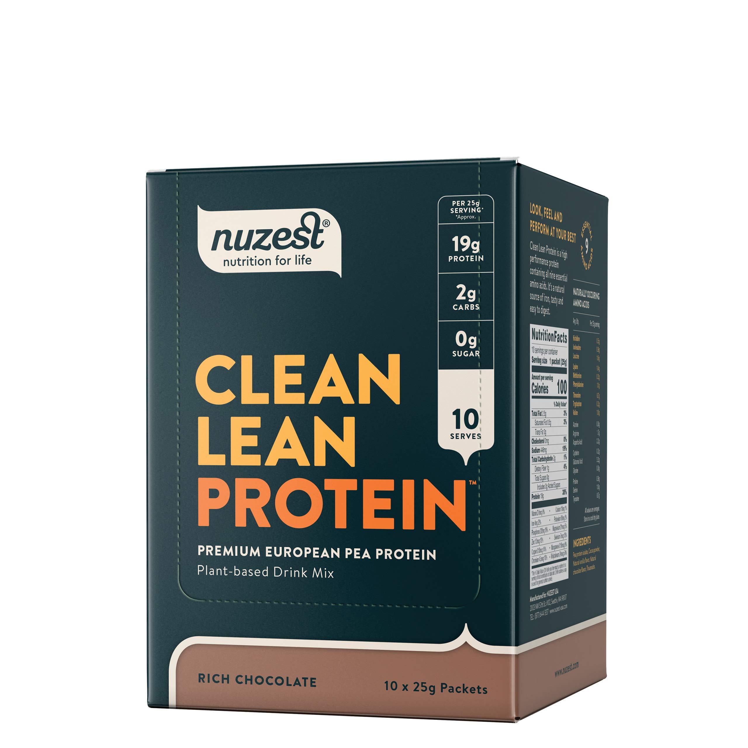 Nuzest Clean Lean Protein - Premium Vegan Protein Powder, Plant Protein Powder, European Golden Pea Protein, Dairy Free, Gluten Free, GMO Free, Naturally Sweetened, Rich Chocolate, 10 Count