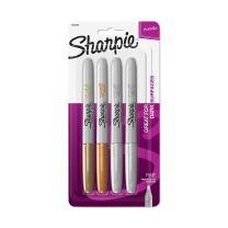 Sharpie Metallic Permanent Markers, Fine Point, Assorted Metallic, 4 Count