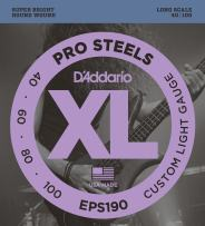 D'Addario EPS190 ProSteels Bass Guitar Strings, Custom Light, 40-100, Long Scale