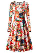 VETIOR Womens Ugly Christmas Xmas Dress Long Sleeve Casual Aline Party Dress