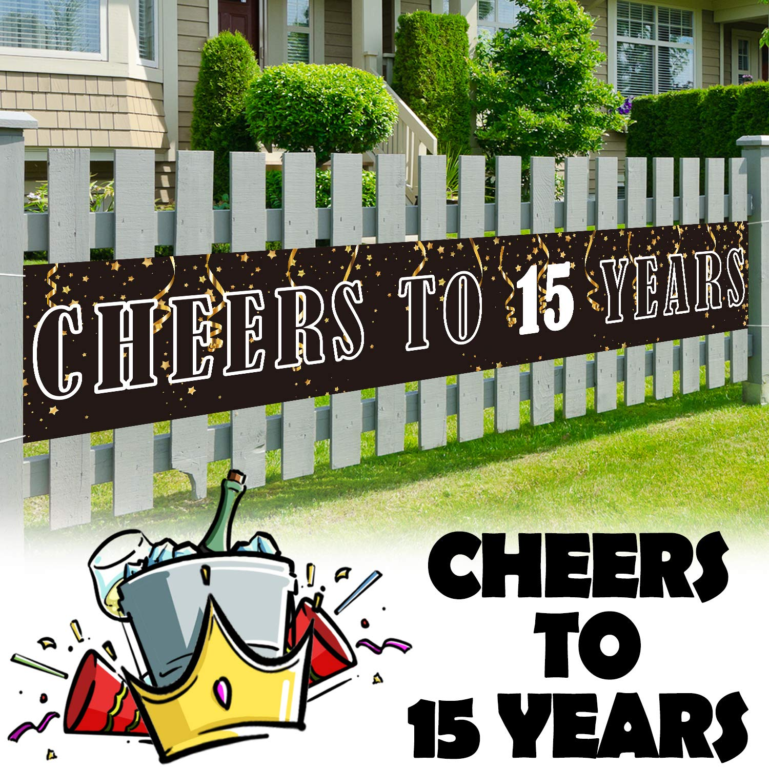 LINGPAR 9.8 x 1.6 ft Large Sign Birthday Or Wedding Anniversary Decor - Cheers to 15 Years Banner