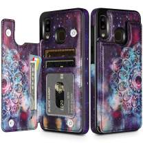 HianDier Wallet Case for Galaxy A20 Slim Protective Case with Credit Card Slot Holder Flip Folio Soft PU Leather Magnetic Closure Cover for Samsung Galaxy A20 A30, Mandala