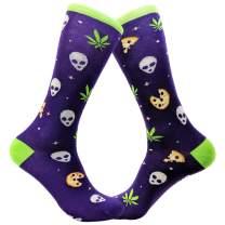 Pizza Weed Alien Socks Funny 420 Marijuana Munchies Footwear