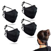 4 Pack Purian Face shield, Tie Behind Head Straps, Cord Locks, Dust Mask for Travel, Industrial, Work, Comfort, Black