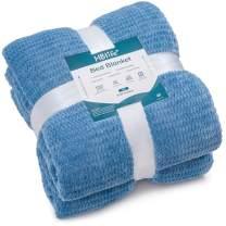 """HBlife Microfiber Luxury Flannel Fleece Blanket Twin Size, Super Soft & Cozy Waffle Weave Pattern Plush Blanket, 66"""" x 90"""" Blue"""