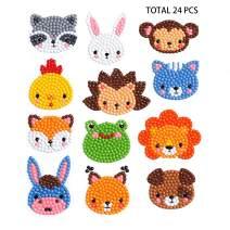 Sinceroduct 24 Pcs 5D DIY Kids Animal Diamond Painting Stickers Beginner Diamond Painting Kits, Digital Diamond Paint