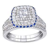 SHELOVES Princess Wedding Rings Set for Women Bridal Blue Cz Cubic Zirconia Sterling Silver Sz 5-10