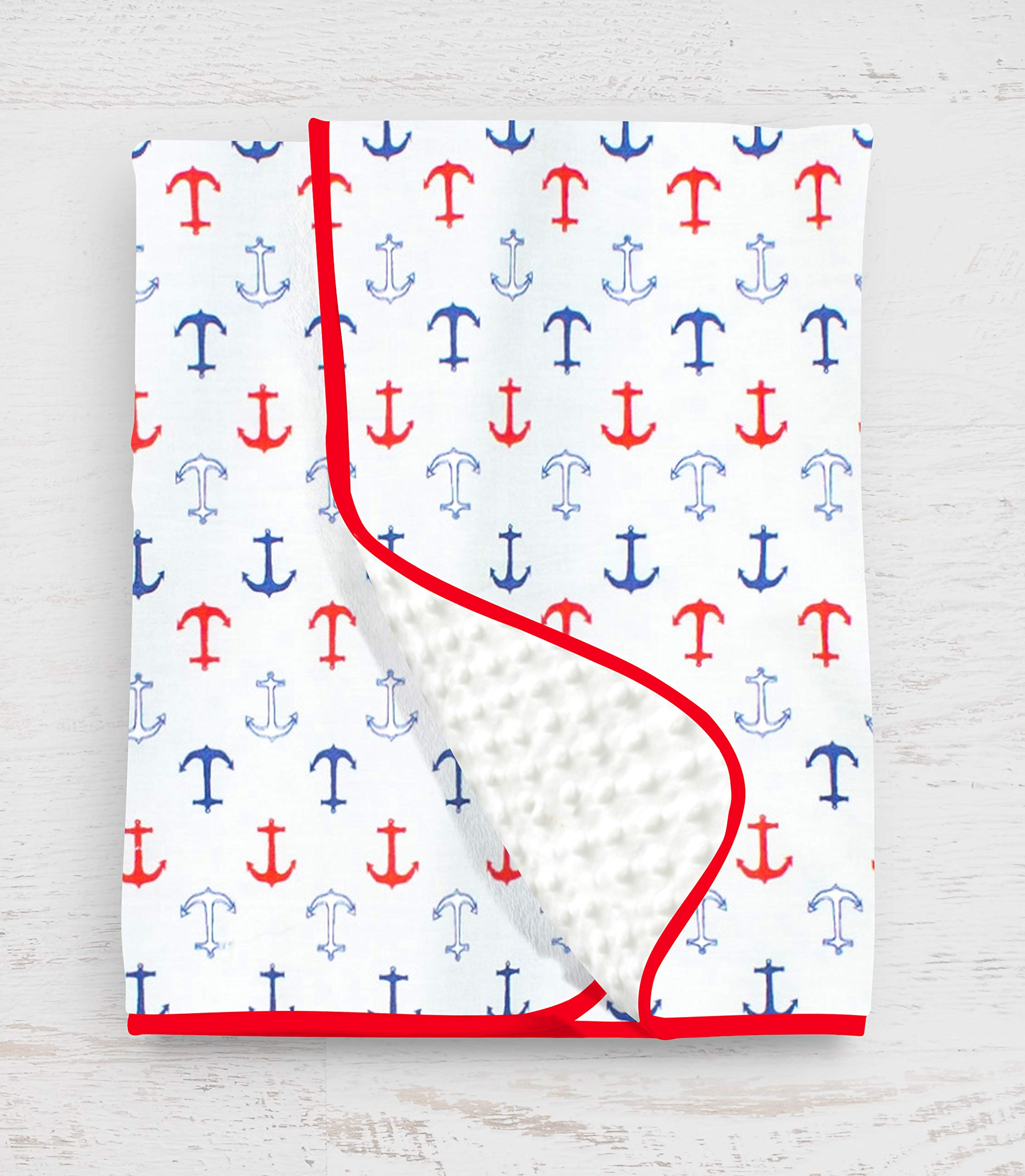 Pam Grace Creations Nautical Baby Blanket, Blue/Red/Gray