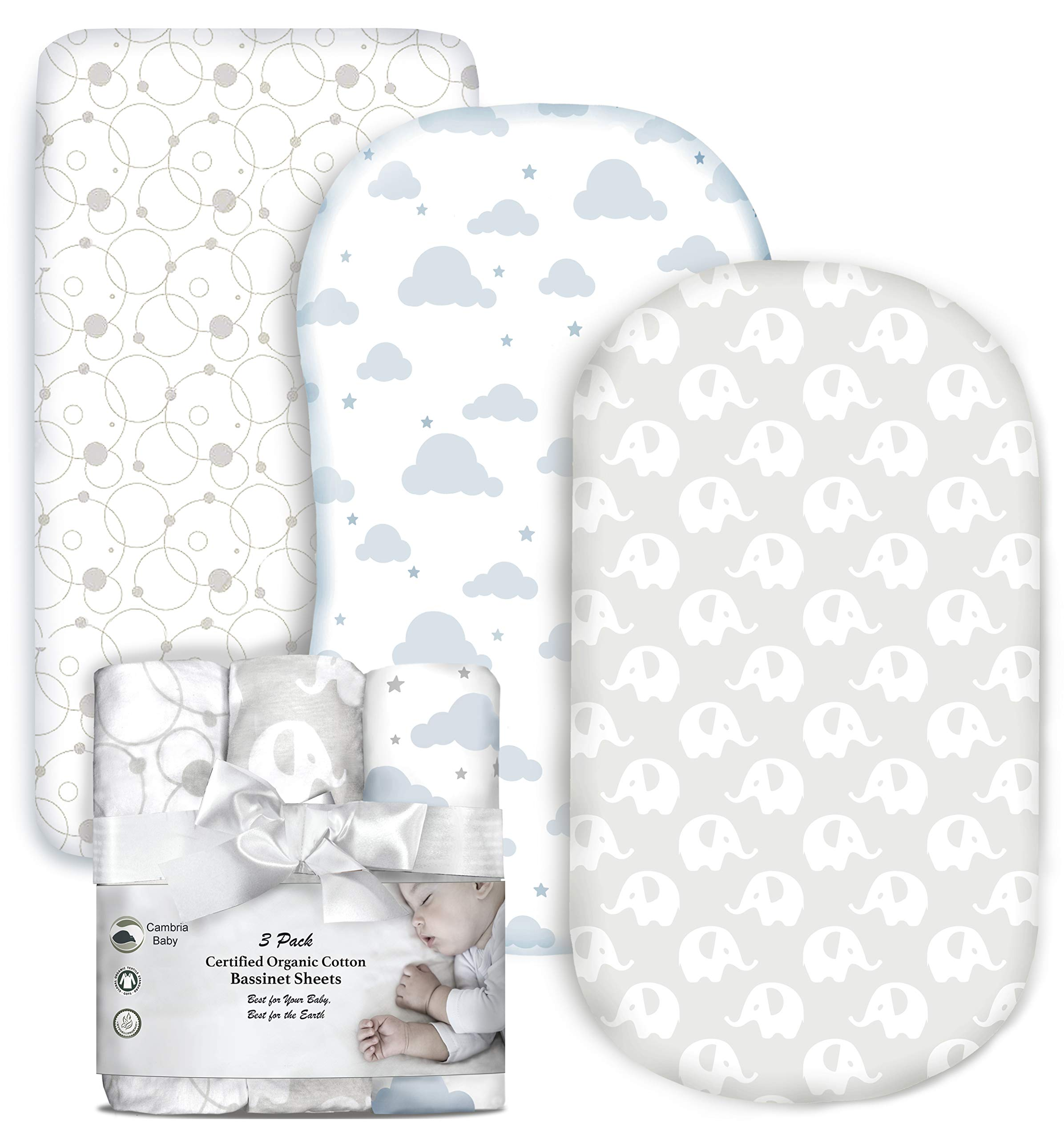 Cambria Baby 100% Organic Cotton Jersey Fitted Bassinet Sheets. Adapts to Oval, Hourglass and Rectangle Shaped Bassinet Pads. Neutral Colored Elephants, Clouds and Bubbles Patterns. 3 Pack