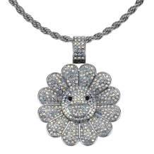Nsitbbuery Hip Hop 18K Gold Plated Turn Sunflower Tag Pendant Iced Out Crystal Necklace